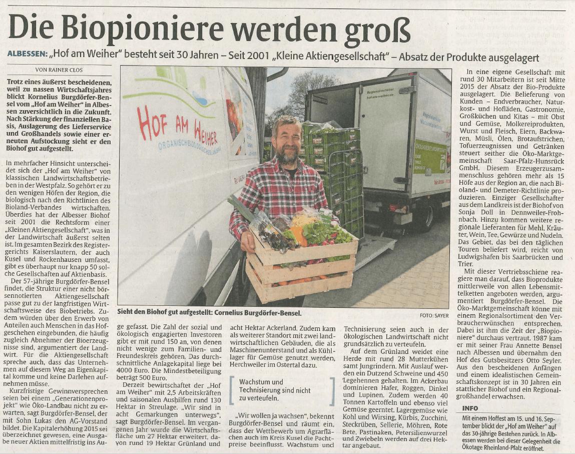 """Heute in der Rheinpfalz:  """"Die Biopioniere werden groß"""""""